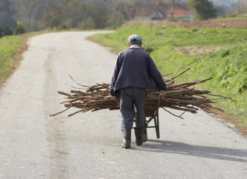 Old man with wheelbarrow/jamsi/iStock